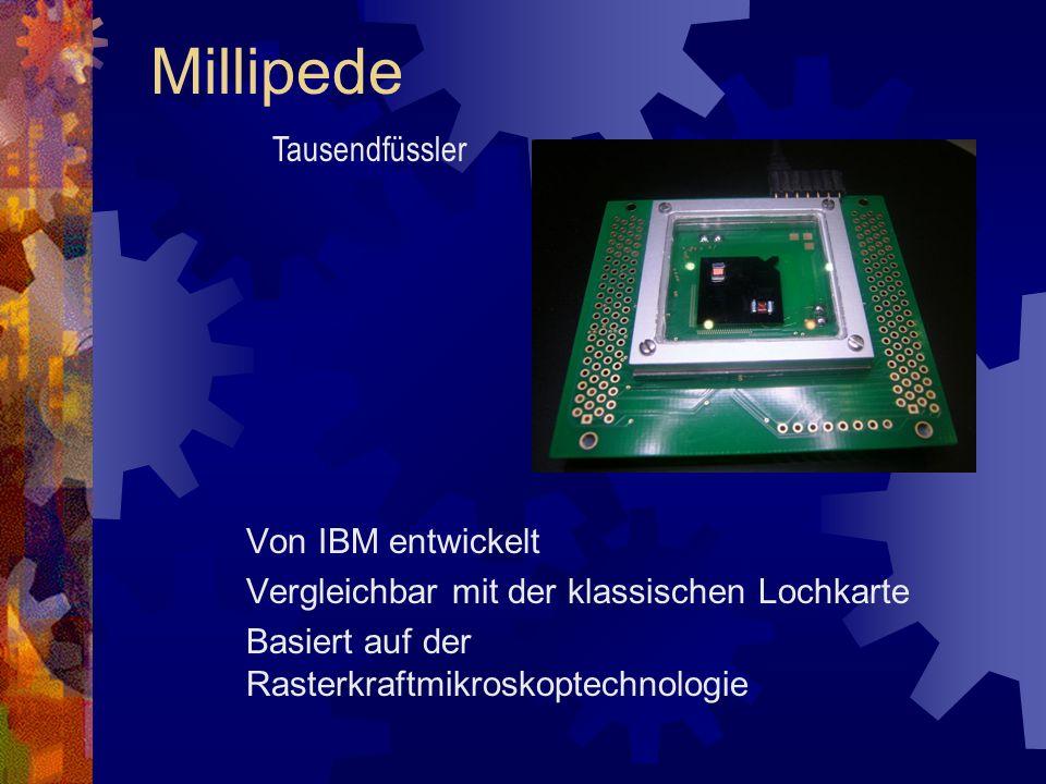 Millipede Von IBM entwickelt Vergleichbar mit der klassischen Lochkarte Basiert auf der Rasterkraftmikroskoptechnologie Tausendfüssler