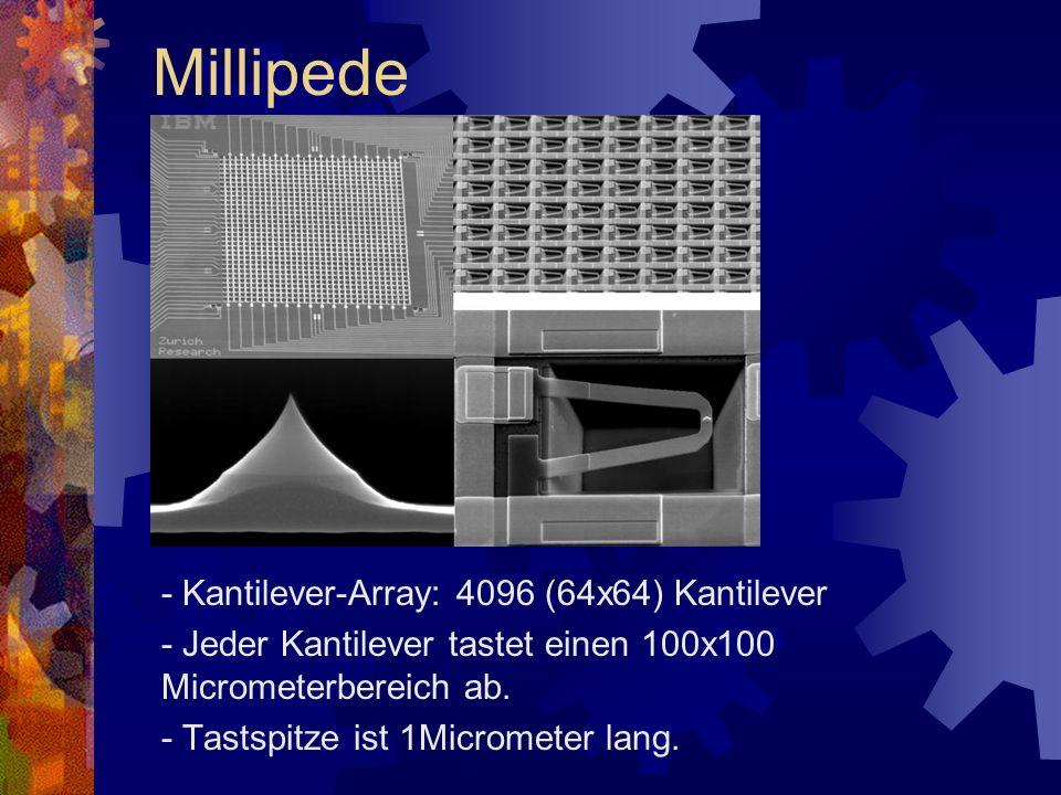 - Kantilever-Array: 4096 (64x64) Kantilever - Jeder Kantilever tastet einen 100x100 Micrometerbereich ab. - Tastspitze ist 1Micrometer lang. Millipede