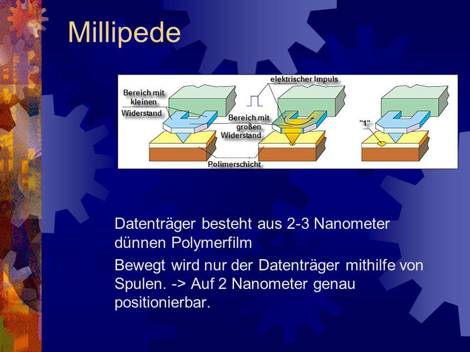 Datenträger besteht aus 2-3 Nanometer dünnen Polymerfilm Bewegt wird nur der Datenträger mithilfe von Spulen. -> Auf 2 Nanometer genau positionierbar.