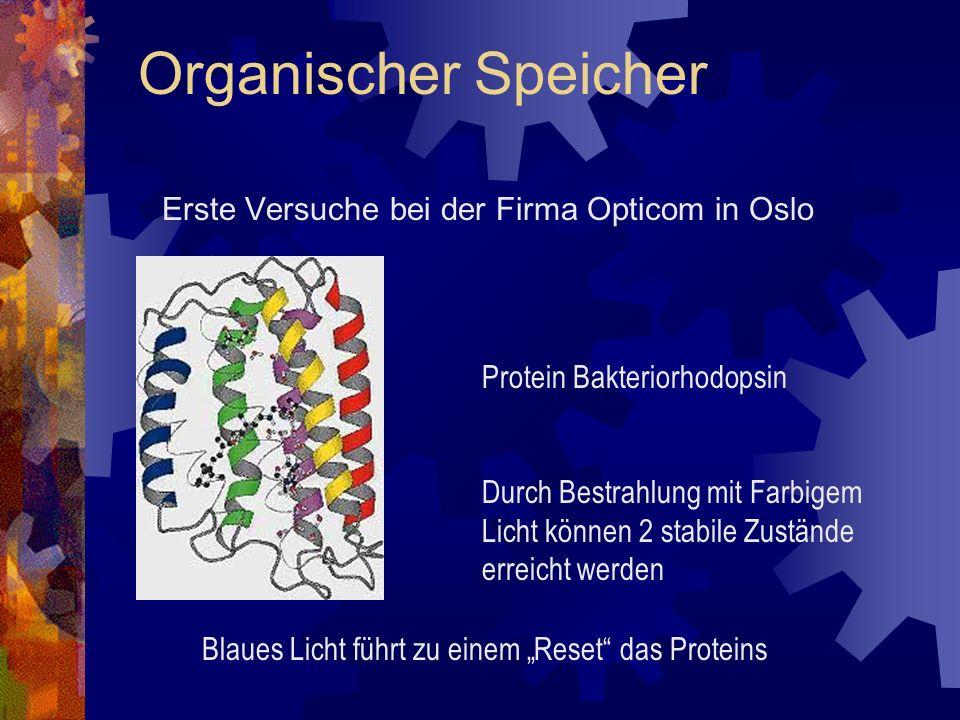 Erste Versuche bei der Firma Opticom in Oslo Organischer Speicher Protein Bakteriorhodopsin Durch Bestrahlung mit Farbigem Licht können 2 stabile Zust