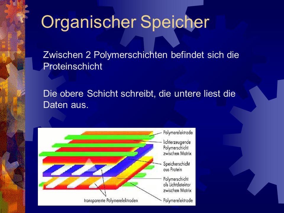 Zwischen 2 Polymerschichten befindet sich die Proteinschicht Die obere Schicht schreibt, die untere liest die Daten aus. Organischer Speicher