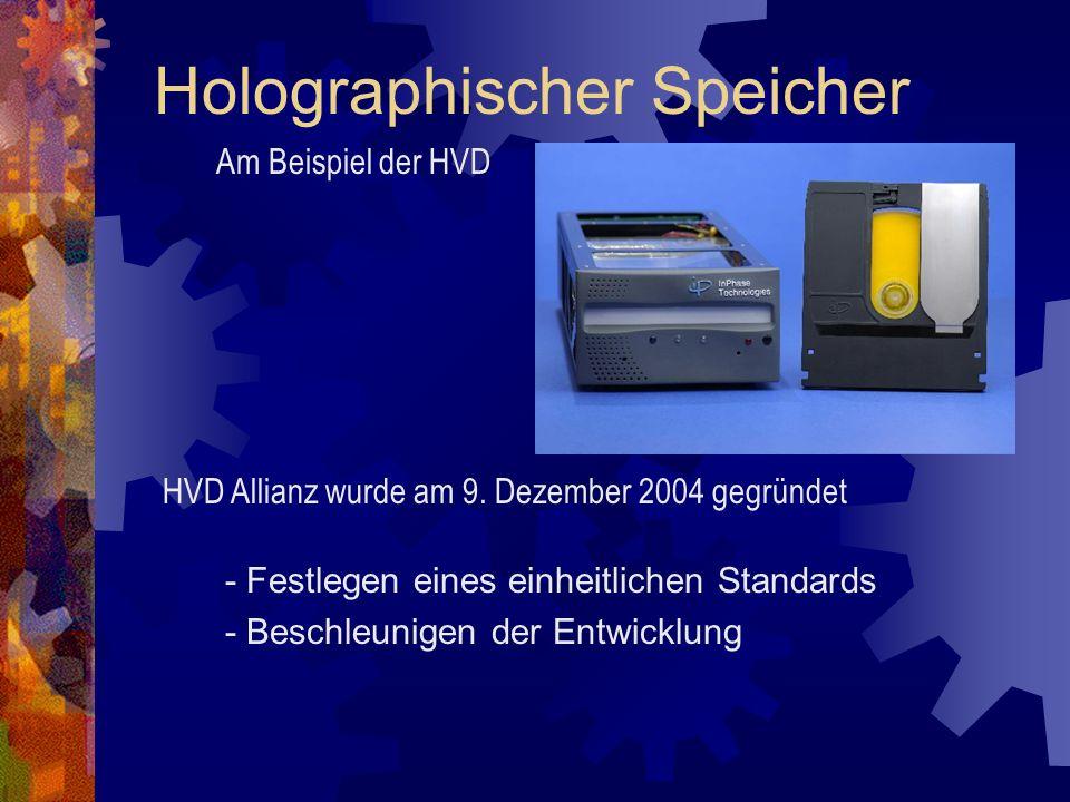 - Festlegen eines einheitlichen Standards - Beschleunigen der Entwicklung Holographischer Speicher HVD Allianz wurde am 9. Dezember 2004 gegründet Am