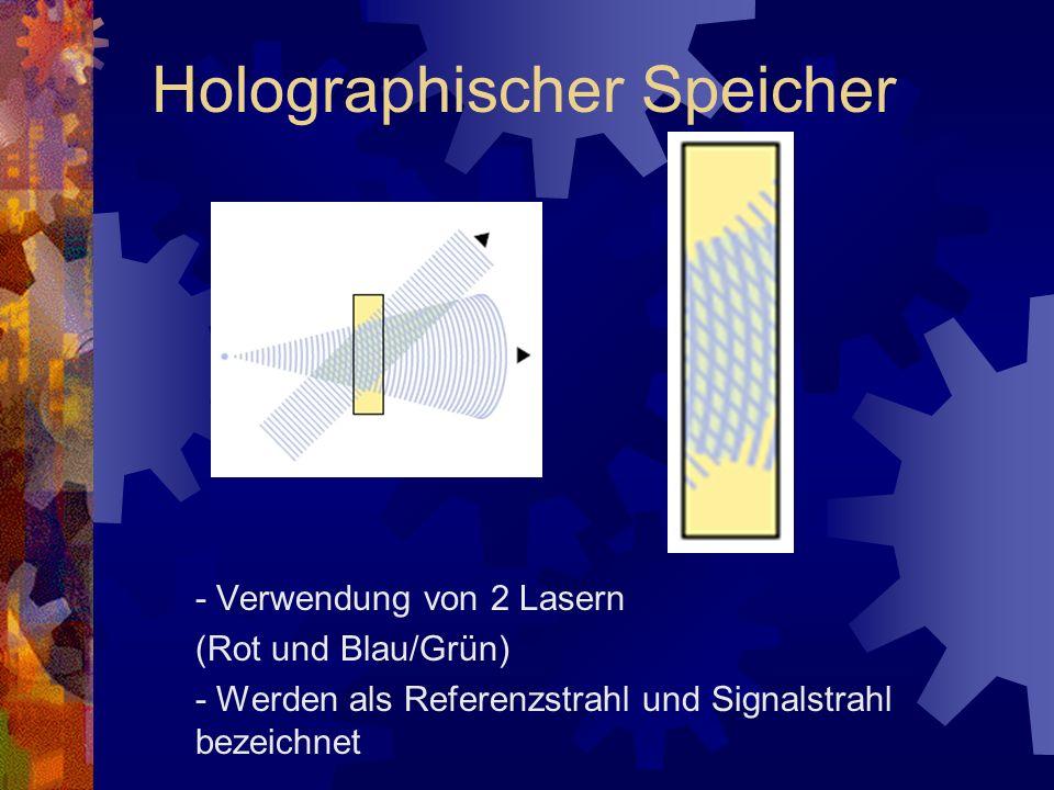 - Verwendung von 2 Lasern (Rot und Blau/Grün) - Werden als Referenzstrahl und Signalstrahl bezeichnet Holographischer Speicher