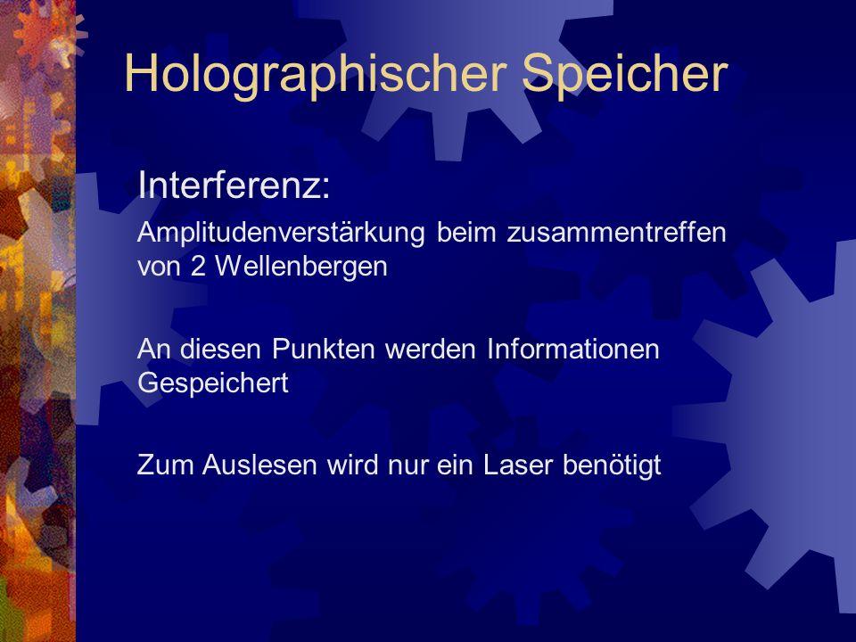 Interferenz: Amplitudenverstärkung beim zusammentreffen von 2 Wellenbergen An diesen Punkten werden Informationen Gespeichert Zum Auslesen wird nur ei