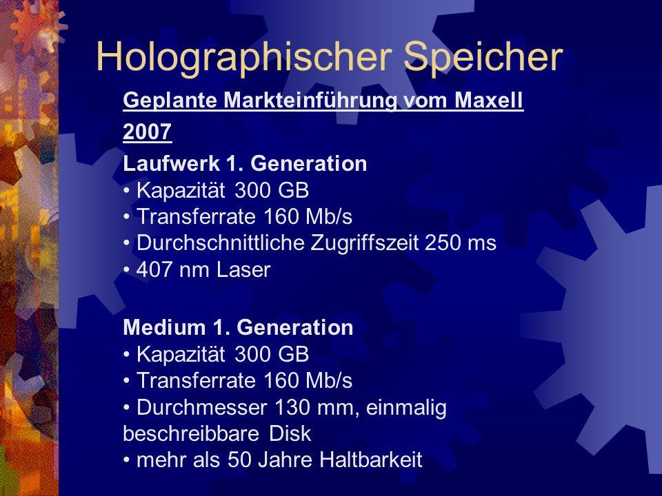 Geplante Markteinführung vom Maxell 2007 Laufwerk 1. Generation Kapazität 300 GB Transferrate 160 Mb/s Durchschnittliche Zugriffszeit 250 ms 407 nm La