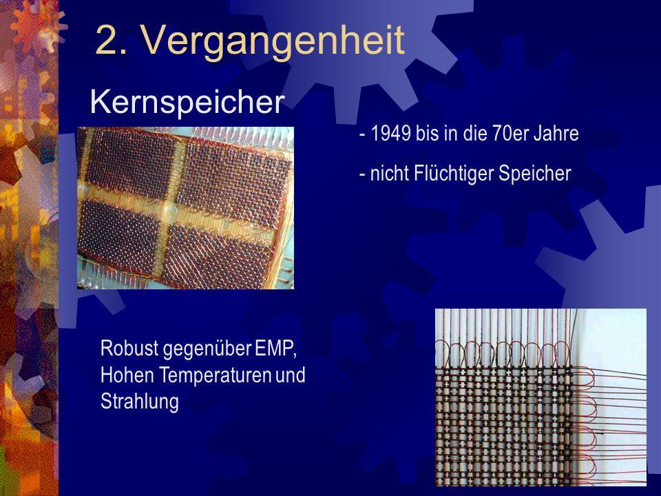 2. Vergangenheit Kernspeicher - 1949 bis in die 70er Jahre - nicht Flüchtiger Speicher Robust gegenüber EMP, Hohen Temperaturen und Strahlung