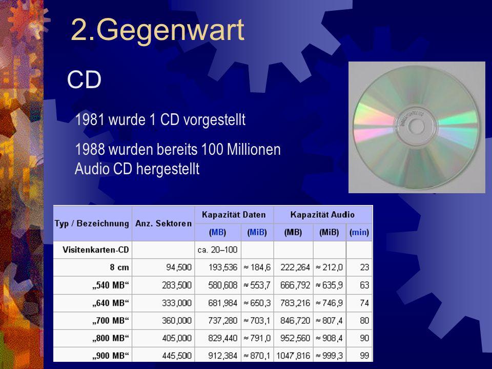 2.Gegenwart CD 1981 wurde 1 CD vorgestellt 1988 wurden bereits 100 Millionen Audio CD hergestellt