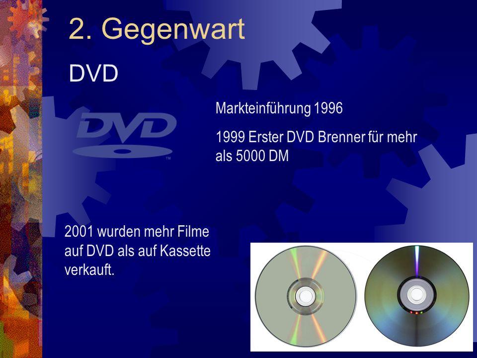 2. Gegenwart DVD Markteinführung 1996 1999 Erster DVD Brenner für mehr als 5000 DM 2001 wurden mehr Filme auf DVD als auf Kassette verkauft.