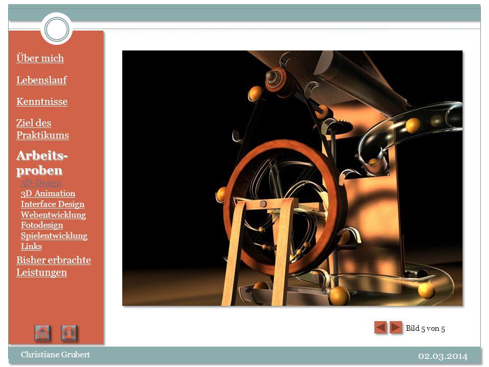 Über mich Lebenslauf Kenntnisse Ziel des Praktikums Arbeits- proben 3D-Design 3D Animation Interface Design Webentwicklung Fotodesign Spielentwicklung