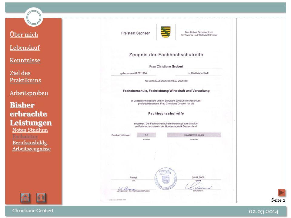 Über mich Lebenslauf Kenntnisse Ziel des Praktikums Arbeitsproben Bisher erbrachte Leistungen Noten Studium Fachabitur Berufsausbildg. Arbeitszeugniss