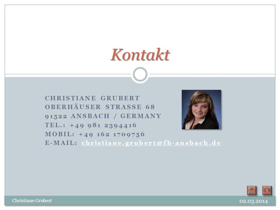 CHRISTIANE GRUBERT OBERHÄUSER STRASSE 68 91522 ANSBACH / GERMANY TEL.: +49 981 2394416 MOBIL: +49 162 1709756 E-MAIL: christiane.grubert@fh-ansbach.de