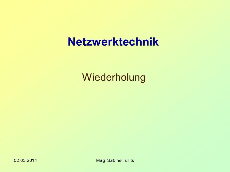 02.03.2014Mag. Sabine Tullits Netzwerktechnik Wiederholung
