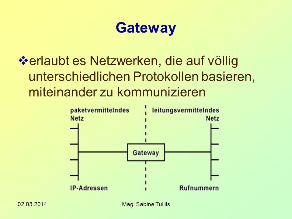 02.03.2014Mag. Sabine Tullits Gateway erlaubt es Netzwerken, die auf völlig unterschiedlichen Protokollen basieren, miteinander zu kommunizieren