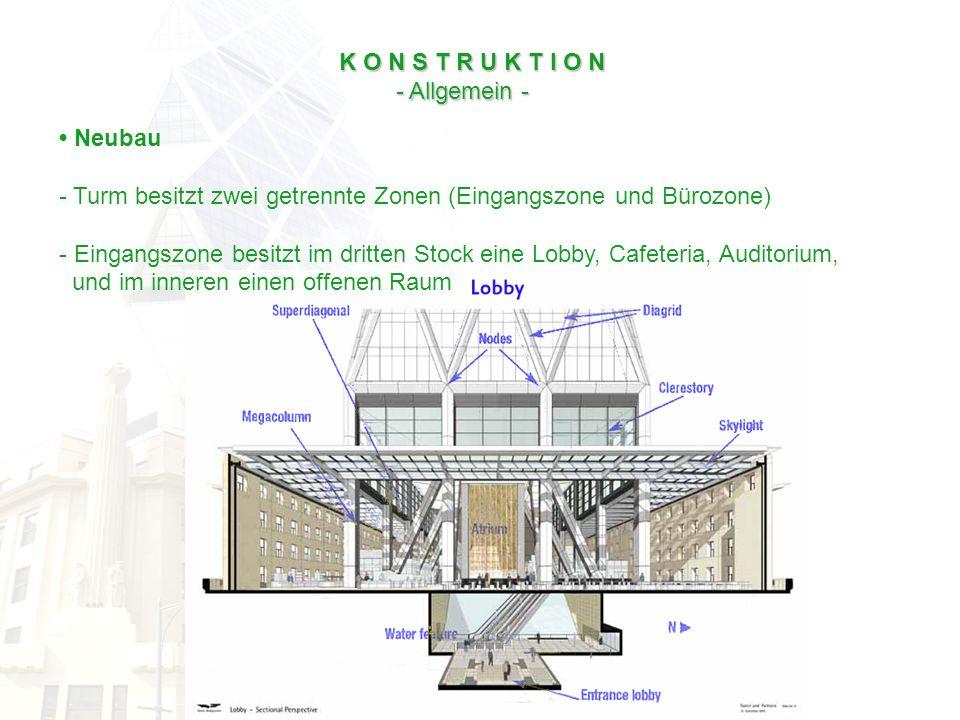 K O N S T R U K T I O N - Allgemein - - Allgemein - Neubau - Turm besitzt zwei getrennte Zonen (Eingangszone und Bürozone) - Eingangszone besitzt im d