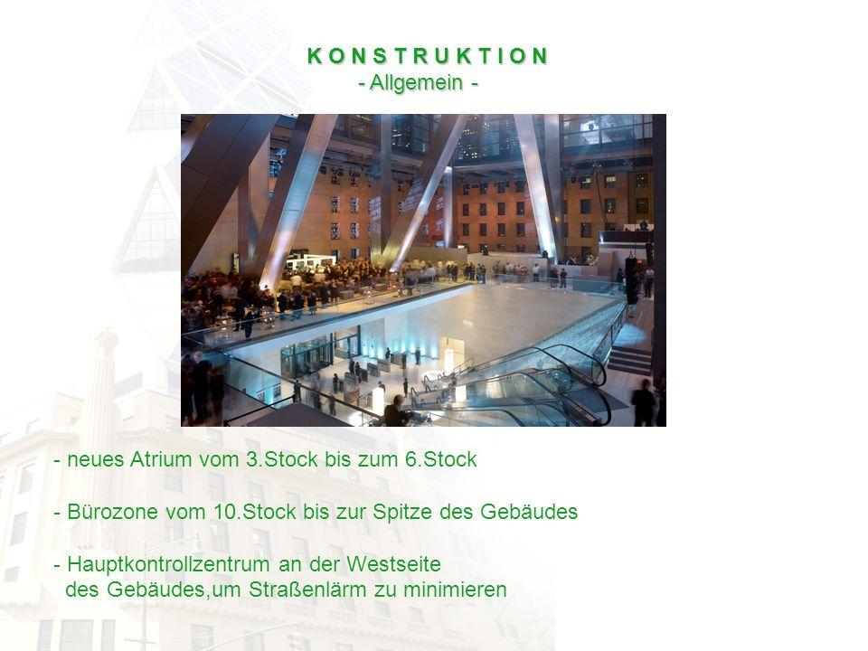 K O N S T R U K T I O N - Allgemein - - Allgemein - - neues Atrium vom 3.Stock bis zum 6.Stock - Bürozone vom 10.Stock bis zur Spitze des Gebäudes - H