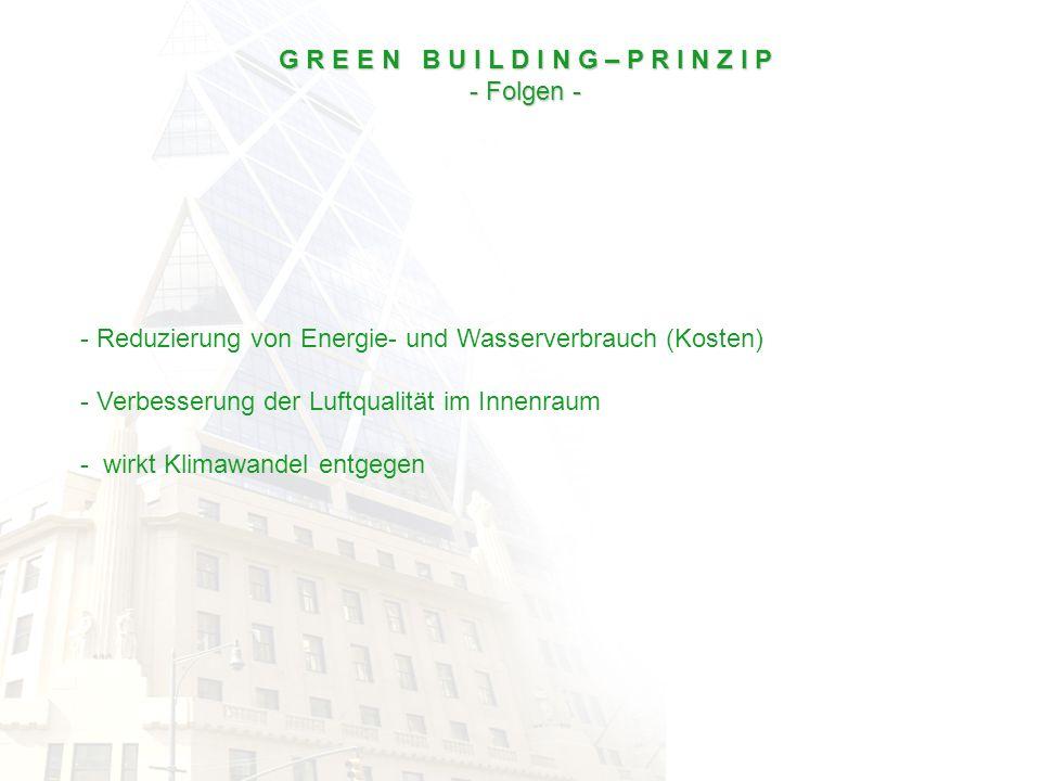 - Reduzierung von Energie- und Wasserverbrauch (Kosten) - Verbesserung der Luftqualität im Innenraum - wirkt Klimawandel entgegen G R E E N B U I L D