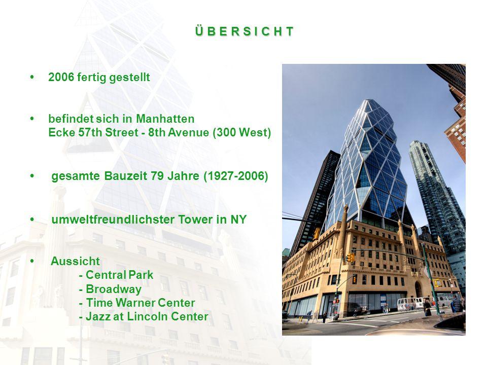 Ü B E R S I C H T 2006 fertig gestellt befindet sich in Manhatten Ecke 57th Street - 8th Avenue (300 West) gesamte Bauzeit 79 Jahre (1927-2006) umwelt