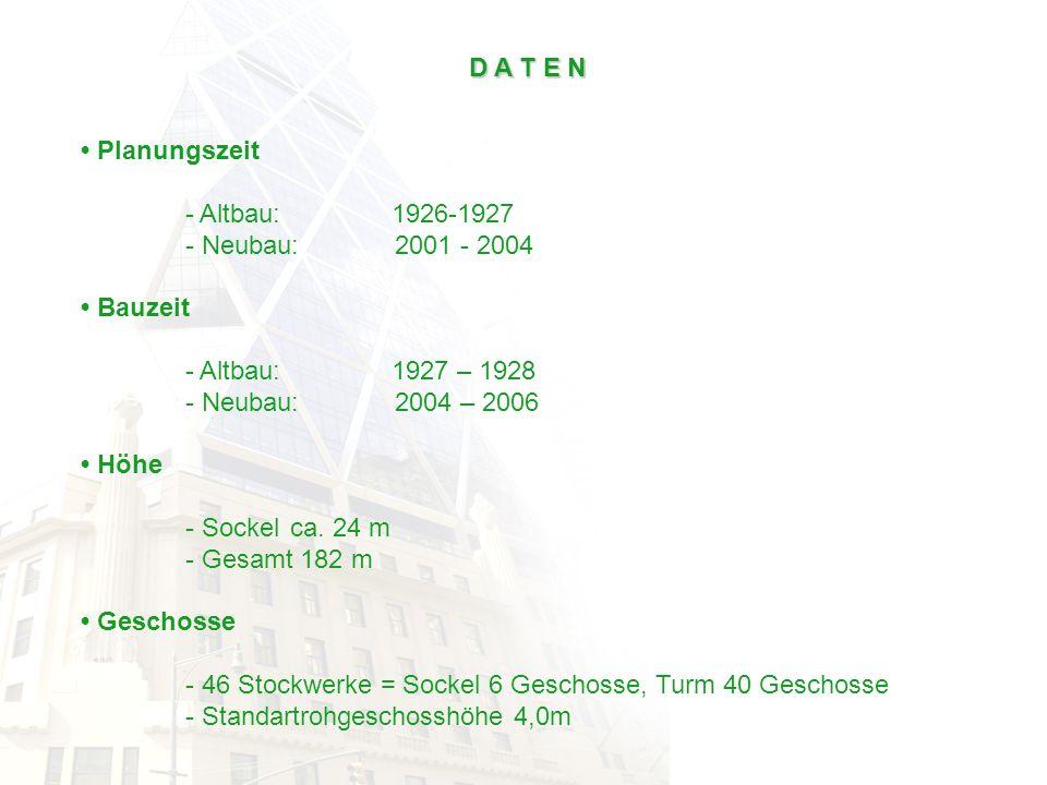 D A T E N Planungszeit - Altbau: 1926-1927 - Neubau:2001 - 2004 Bauzeit - Altbau: 1927 – 1928 - Neubau:2004 – 2006 Höhe - Sockelca. 24 m - Gesamt 182