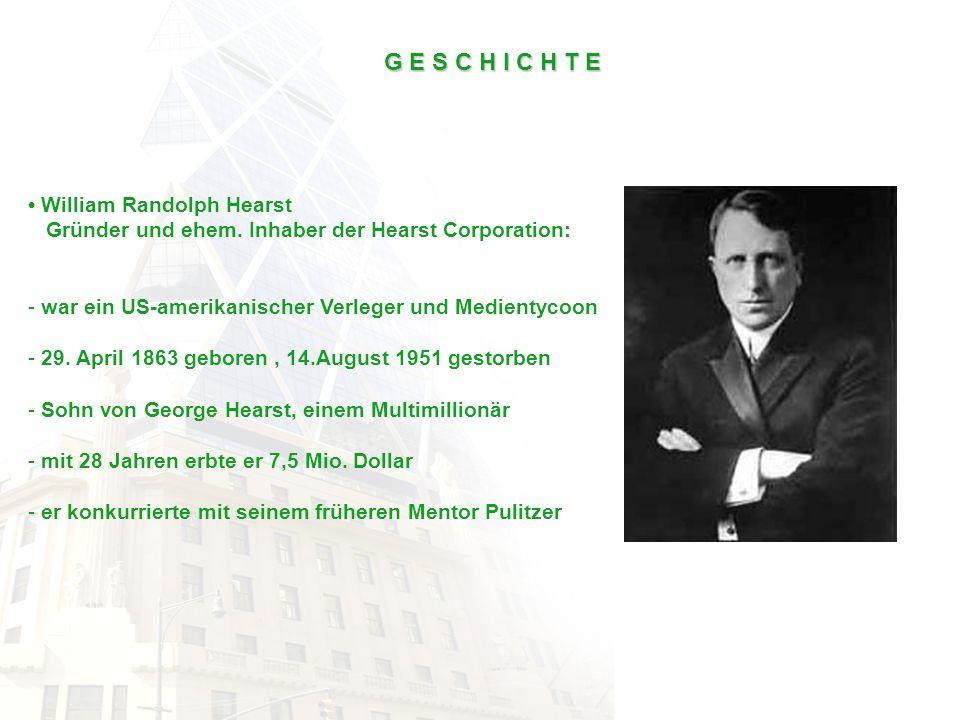 G E S C H I C H T E William Randolph Hearst Gründer und ehem. Inhaber der Hearst Corporation: - war ein US-amerikanischer Verleger und Medientycoon -