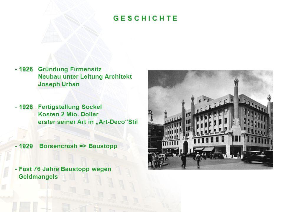 1926 - 1926 Gründung Firmensitz Neubau unter Leitung Architekt Joseph Urban 1928 - 1928 Fertigstellung Sockel Kosten 2 Mio. Dollar erster seiner Art i
