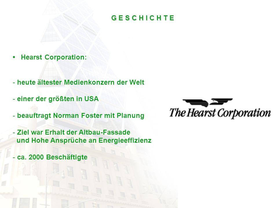 Hearst Corporation: - heute ältester Medienkonzern der Welt - einer der größten in USA - beauftragt Norman Foster mit Planung - Ziel war Erhalt der Al