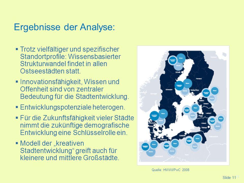 11 Trotz vielfältiger und spezifischer Standortprofile: Wissensbasierter Strukturwandel findet in allen Ostseestädten statt. Innovationsfähigkeit, Wis