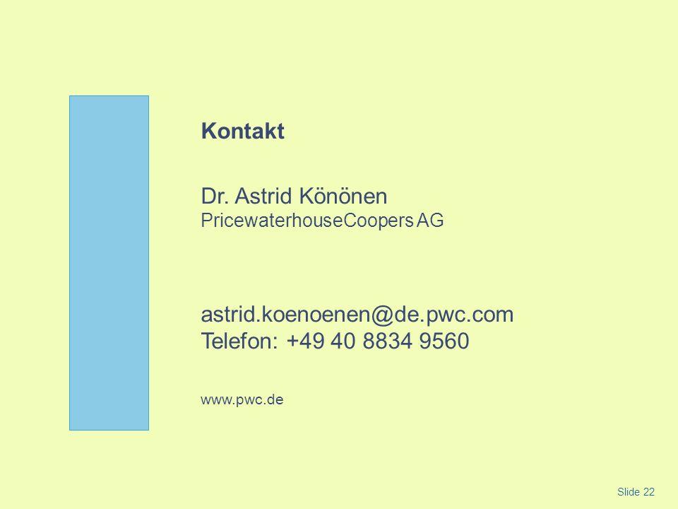 Kontakt Dr. Astrid Könönen PricewaterhouseCoopers AG astrid.koenoenen@de.pwc.com Telefon: +49 40 8834 9560 www.pwc.de Slide 22