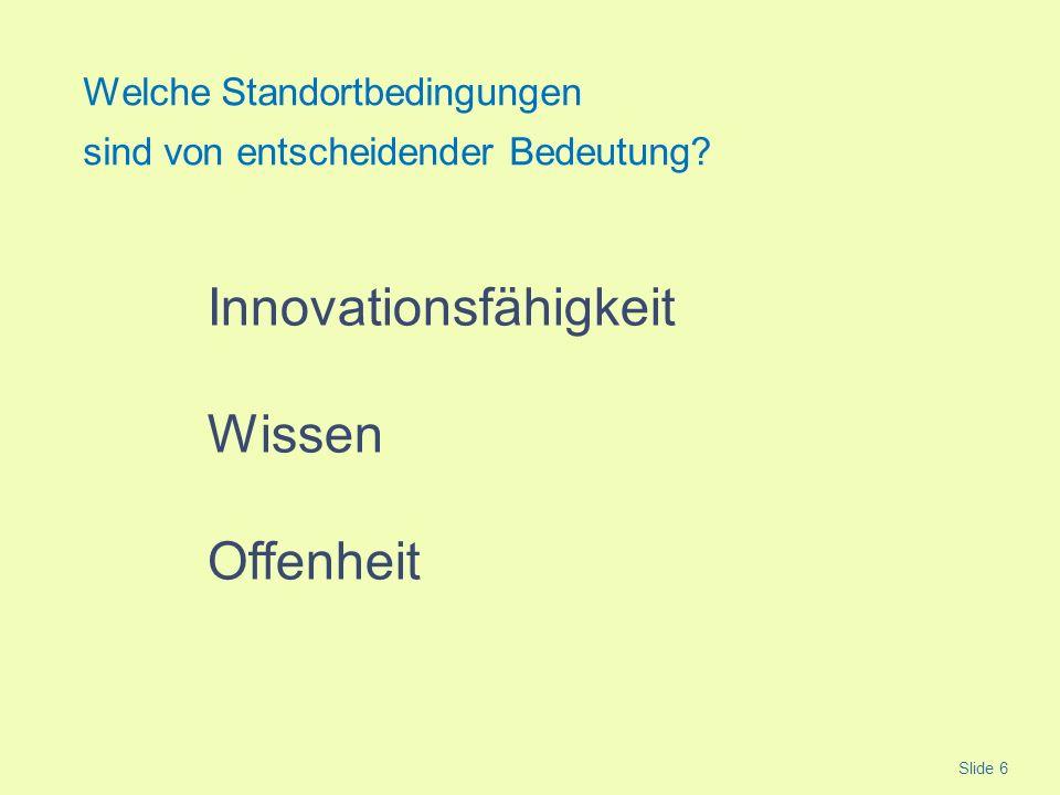 Innovationsfähigkeit Wissen Offenheit Welche Standortbedingungen sind von entscheidender Bedeutung? Slide 6
