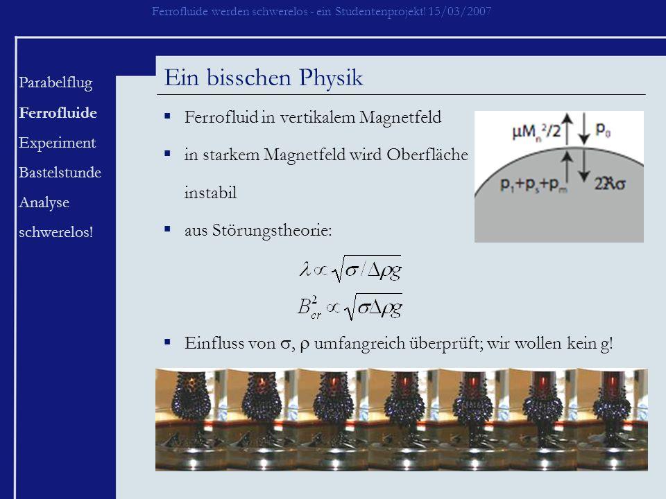 Ferrofluide werden schwerelos - ein Studentenprojekt! 15/03/2007 Parabelflug Ferrofluide Experiment Bastelstunde Analyse schwerelos! Ein bisschen Phys
