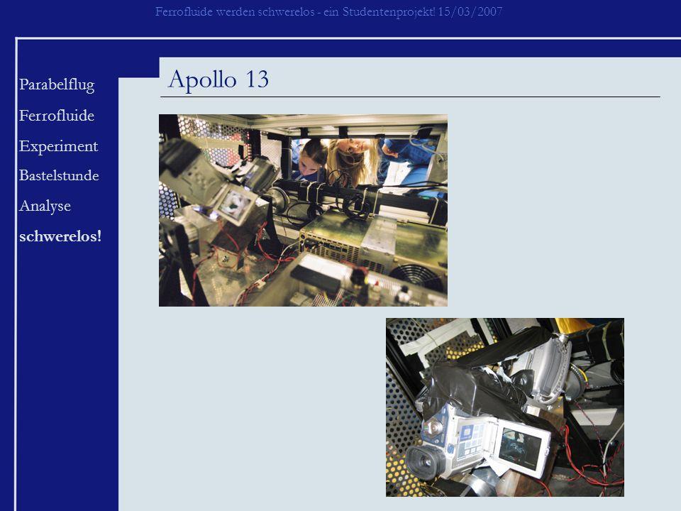 Ferrofluide werden schwerelos - ein Studentenprojekt! 15/03/2007 Parabelflug Ferrofluide Experiment Bastelstunde Analyse schwerelos! Apollo 13