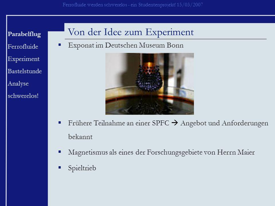 Ferrofluide werden schwerelos - ein Studentenprojekt! 15/03/2007 Parabelflug Ferrofluide Experiment Bastelstunde Analyse schwerelos! Von der Idee zum