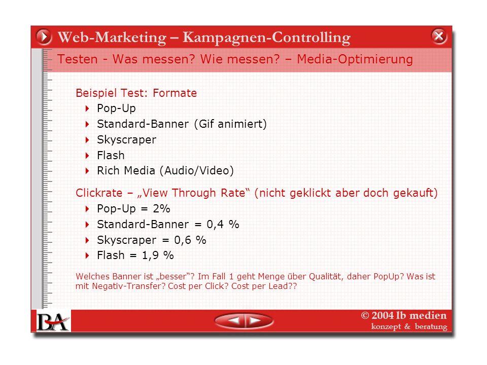 © 2004 lb medien konzept & beratung Web-Marketing – Kampagnen-Controlling Testen - Was messen? Wie messen? – Media-Optimierung Teilzielgruppen qualifi