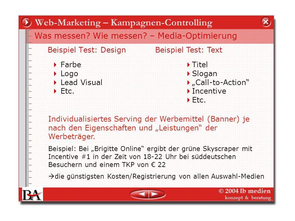 © 2004 lb medien konzept & beratung Web-Marketing – Kampagnen-Controlling Testen - Was messen? Wie messen? – Media-Optimierung Beispiel Test: Formate