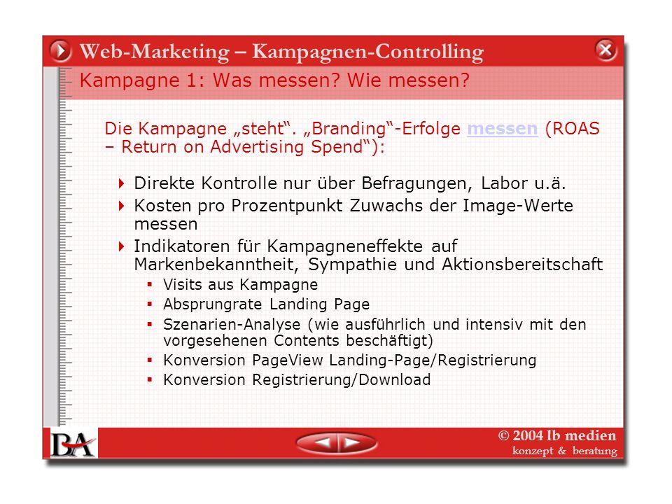 © 2004 lb medien konzept & beratung Web-Marketing – Kampagnen-Controlling Beispiel Test: Design Farbe Logo Lead Visual Etc. Beispiel Test: Text Titel