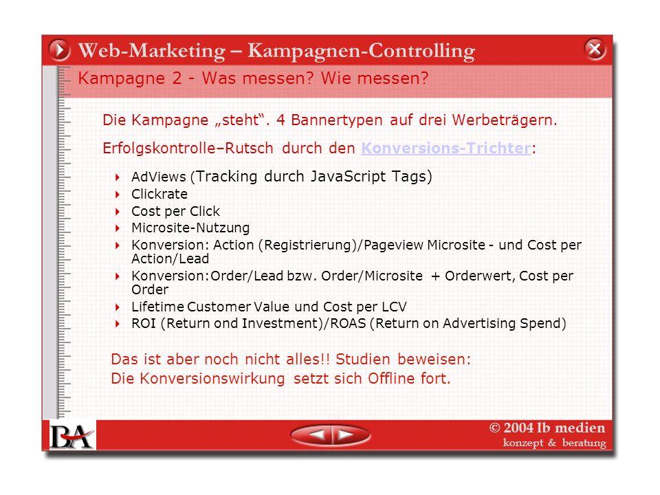© 2004 lb medien konzept & beratung Web-Marketing – Kampagnen-Controlling Beispiel2: Tracking der Werbekampagne - Ziele - Media Der Verlag startet ein