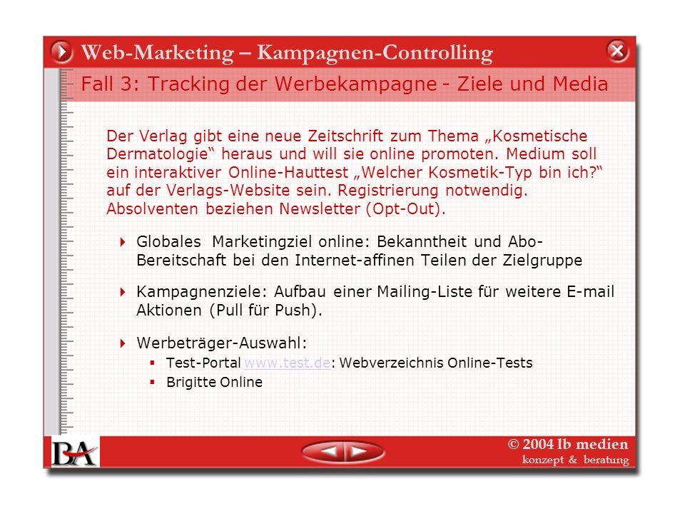 © 2004 lb medien konzept & beratung Web-Marketing – Kampagnen-Controlling Kampagne 2 - Was messen? Wie messen? Die Kampagne steht. 4 Bannertypen auf d