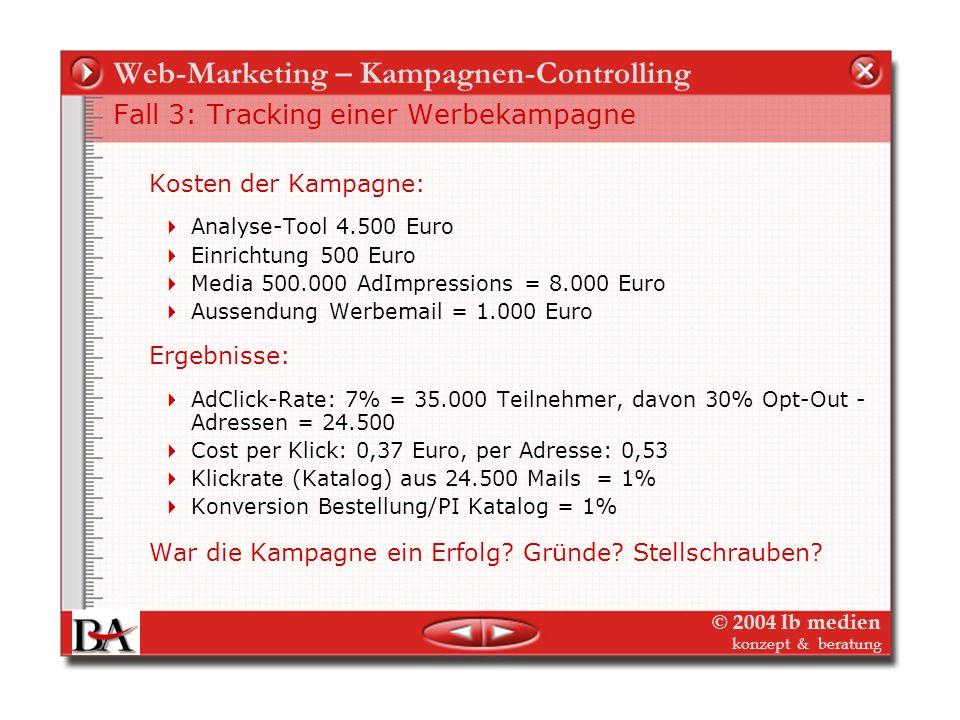 © 2004 lb medien konzept & beratung Web-Marketing – Kampagnen-Controlling Fall 3: Tracking der Werbekampagne - Ziele und Media Der Verlag gibt eine ne