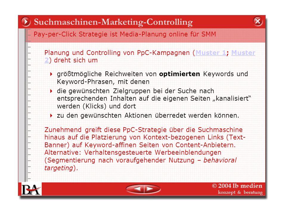 © 2004 lb medien konzept & beratung Suchmaschinen-Marketing-Controlling Suchmaschinen-Effekte: Mediaplanung für Markenpromotion