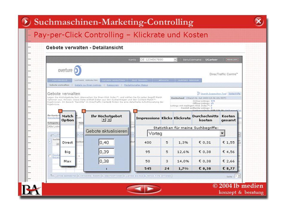 © 2004 lb medien konzept & beratung Suchmaschinen-Marketing-Controlling Pay-per-Click Strategie ist Media-Planung online für SMM Stationen der PpC-Pla