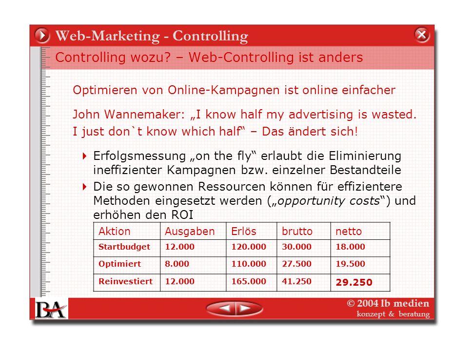 © 2004 lb medien konzept & beratung Online Marketing Controlling ist anders Zielgruppen Online – Cross-Media Online-Schaltungen bringt zusätzliche Rei