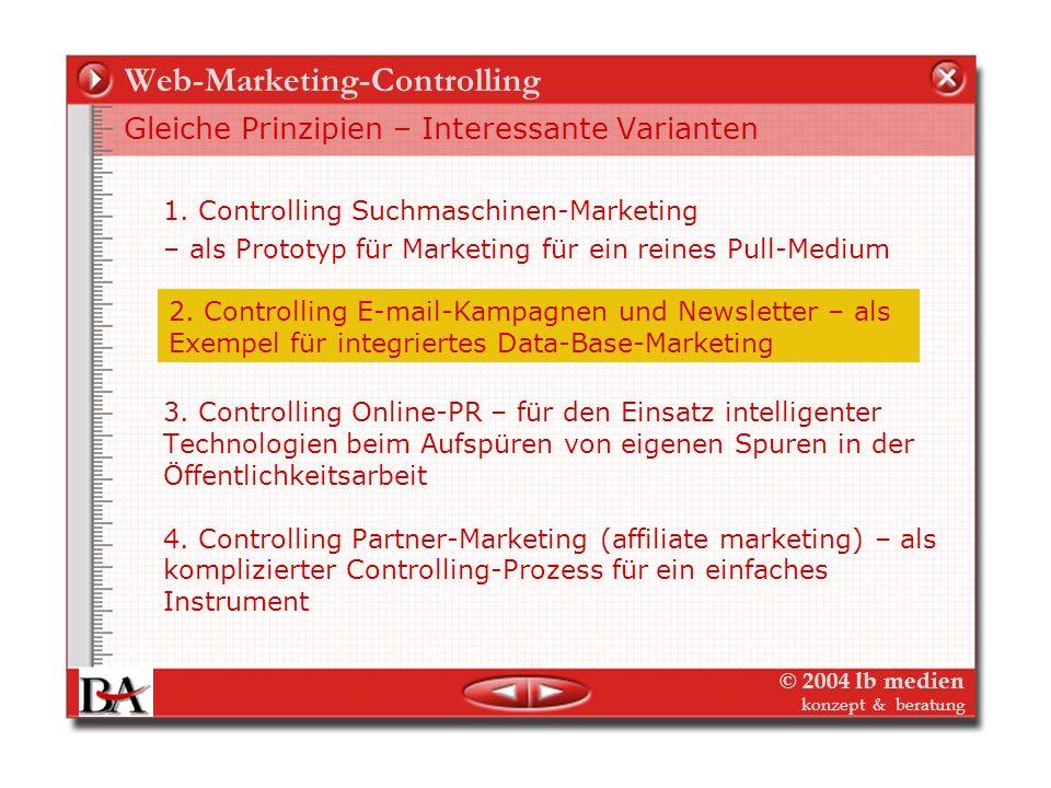 © 2004 lb medien konzept & beratung Suchmaschinen-Marketing-Controlling Datenquellen für Controlling im Suchmaschinen-Marketing Controlling und Optimi