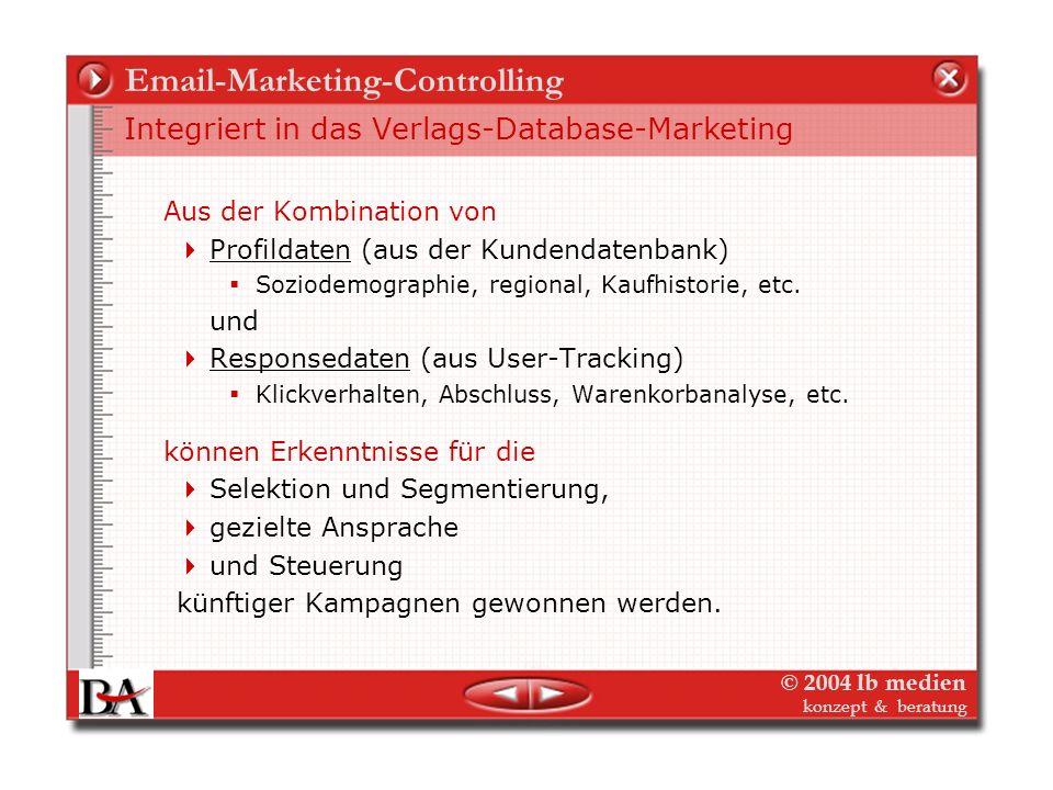 © 2004 lb medien konzept & beratung Email-Marketing-Controlling Email-Leistungsdaten bleiben stabil – Ihre auch?