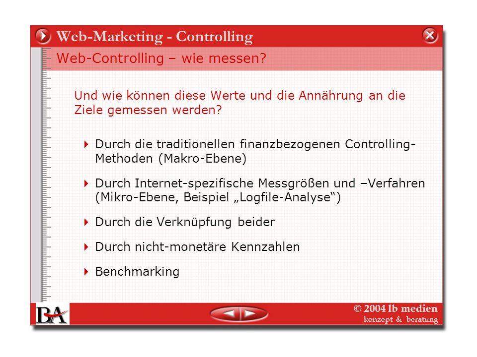 © 2004 lb medien konzept & beratung Die Themen – Web-Controlling Controlling wozu? – Web-Controlling wozu? Web-Controlling - Was messen? Woher kommen