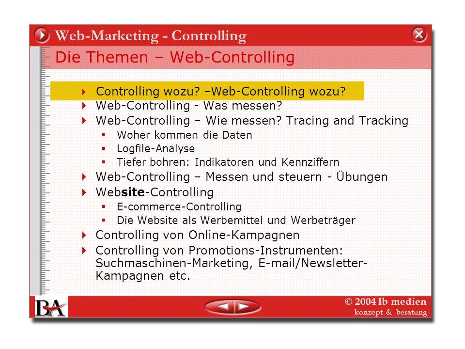 © 2004 lb medien konzept & beratung Web-Controlling Ziele, Zielgruppen und Erfolgskontrollen