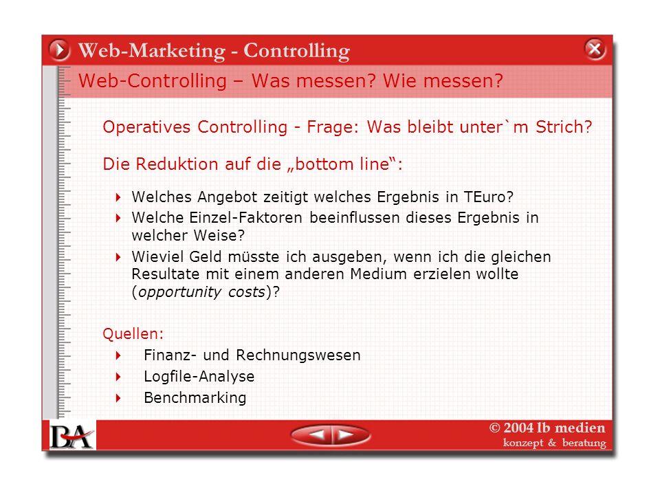© 2004 lb medien konzept & beratung Web-Marketing - Controlling Web-Controlling – Was messen? Wie messen? Operatives Controlling: Der gläserne Interne