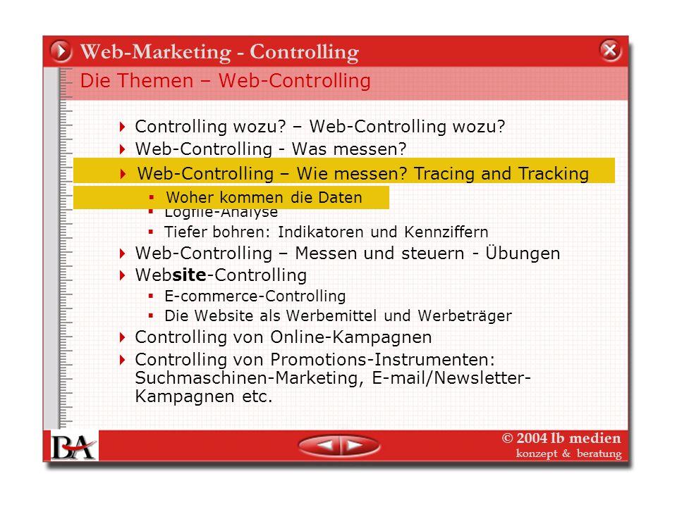 © 2004 lb medien konzept & beratung Web-Marketing - Controlling Web-Controlling – Was messen? Wie messen? Operatives Controlling - Frage: Was bleibt u