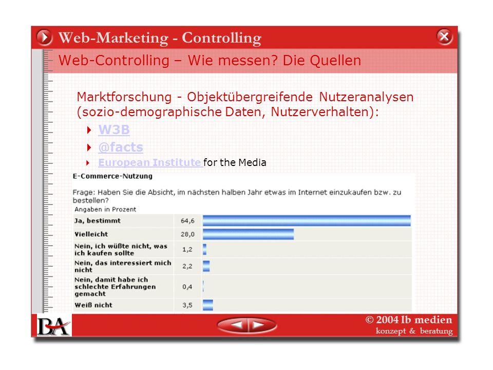 © 2004 lb medien konzept & beratung Web-Marketing - Controlling Web-Controlling – Wie messen? Die Quellen Marktforschung - Reichweiten und Nutzungsdat