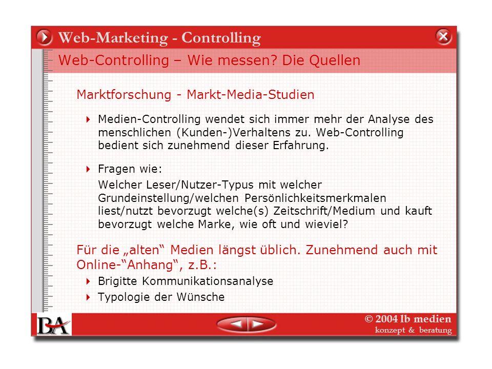 © 2004 lb medien konzept & beratung Web-Marketing - Controlling Exkurs – Woher kommen die Daten? Der Niko-Index (Info) – Zusammenführung von Reichweit