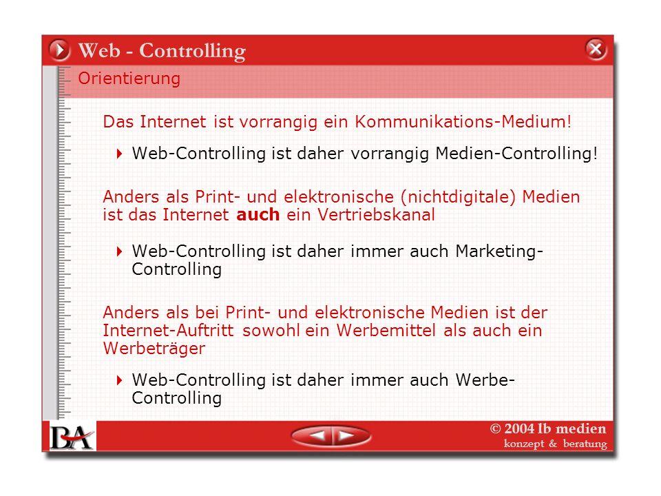 © 2004 lb medien konzept & beratung Web-Marketing - Controlling Die Themen – Web-Controlling Web-Controlling - Was messen? Web-Controlling – Wie messe