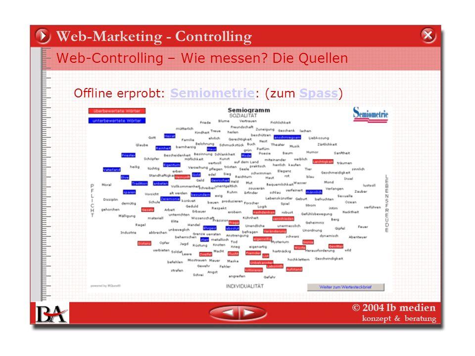 © 2004 lb medien konzept & beratung Web-Marketing - Controlling Web-Controlling – Wie messen? Die Quellen Offline erprobt: Innovative Forschungsmethod